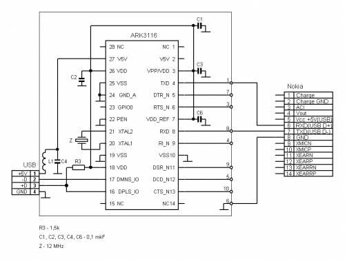 Data-кабель USB-to-Serial на чипе ARK3116 для мобильных телефонов Nokia (разъем 14pin).  Просмотреть схему в реальном...